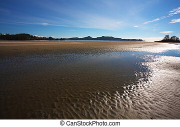 Low tide - Pacific coast of Vancouver Island at sunset. Low...