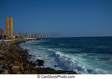 Pacific Coast - Rocky sea front along the Pacific Ocean at...