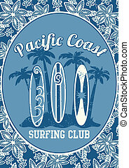 Pacific Coast surfing club. Illustrator swatch of repeat pattern included.
