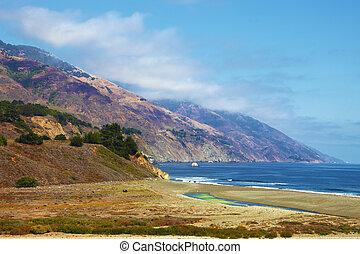 Picturesque abrupt breakage - Pacific coast USA. Picturesque...