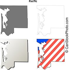 Pacific County, Washington outline map set