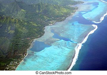 Pacific island lagoon, Moorea, French Polynesia, aerial view
