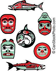 Collection of vector illustrations of designs based on the art of the native tribes of the Pacific Northwest.