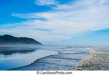 Pacific Northwest ocean beach scene