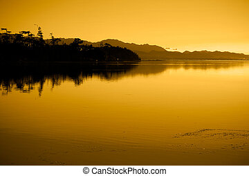 Sunset at Cline Spit in Sequim Washington.