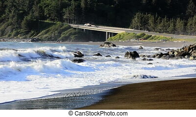 Pacific Ocean and the 101 - Redwoods National Park in...