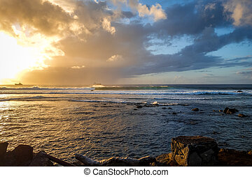 Pacific ocean at sunset on Easter Island