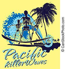 pacific ocean skeleton surfer vector art