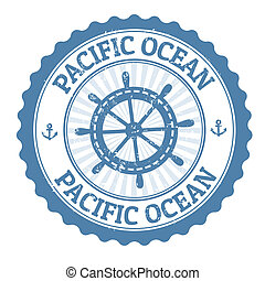 Grunge rubber stamp with the text Pacific Ocean written inside, vector illustration