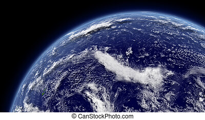 Pacific ocean viewed from space with atmosphere and clouds. ...