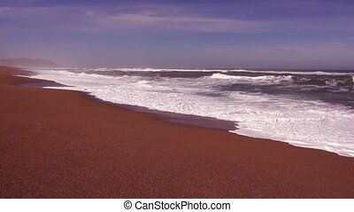 Pacific ocean waves - Panoramic view of coasline in...