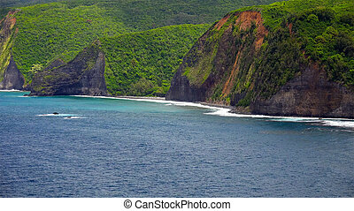 Pacific Ocean Waves Roll Into The Kona Coast on the Big Island of Hawaii