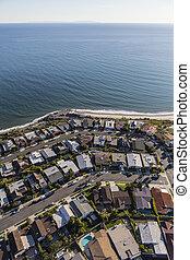 Pacific Palisades Ocean View Homes Aerial in Los Angeles California