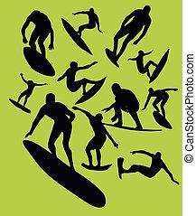 pacific surfer silhouette vector graphic design