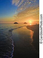 pacifico, alba, a, lanikai, spiaggia, hawai