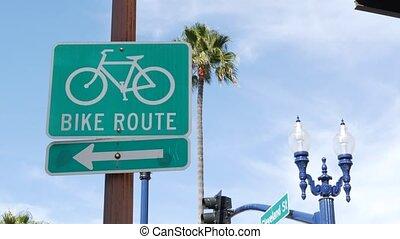 pacifique, sécurité, symbole, parcours, vélo, usa., vélo, palm., route, resort., californie, touriste, cycleway, signe, bikeway, oceanside, singpost., récréation, style de vie, sain, vert, couloir, cyclisme, enseigne