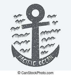 pacifique, vecteur, ancre, illustration, océan