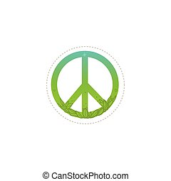 Icon, sign and symbol of pacific. Pacifism and green peace symbol, hippie sign, isolated vector illustration.