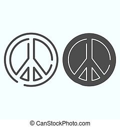 Pacifism line and solid icon. Peace symbol vector illustration isolated on white. Sign pacifist outline style design, designed for web and app. Eps 10.