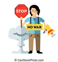 Pacifism. No War. Protest Woman. Flat style colorful Vector...