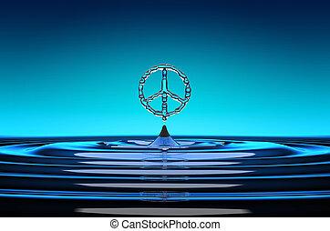 pacifism, symbol, geformt, bewässern fallen