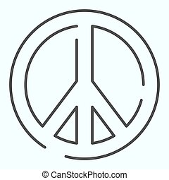 Pacifism thin line icon. Peace symbol vector illustration isolated on white. Sign pacifist outline style design, designed for web and app. Eps 10.