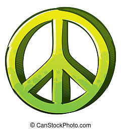 Pacifist sign - Symbol of peace created in sketch and...