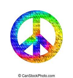 pacifista, coloreado, aislado, señal