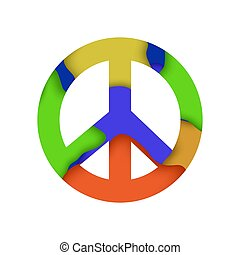 pacifista, coloreado, señal