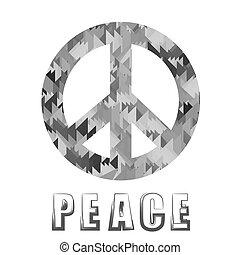 pacifista, gris, señal