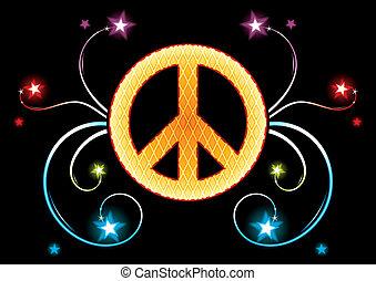 pacifista, oro, señal