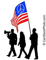 pacifista, tres personas