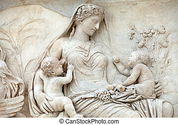 pacis, altar, paz, -, ara, roma, augustan