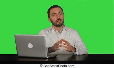 pacjent, doktor, chroma, ekran, mówiąc, zielony klucz, samiec