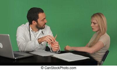 pacjent, doktor, chroma, ekran, mówiąc, zielony klucz, uśmiechanie się