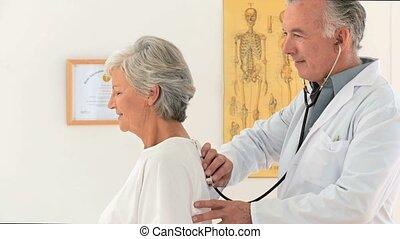 pacjent, doktor, jego, odwiedzając