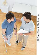 pacjent, informuje, niepełnosprawny, terapeuta, samiec, dyskutując