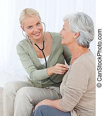 pacjent, jej, wpływy, heartbreat, dom, pielęgnować