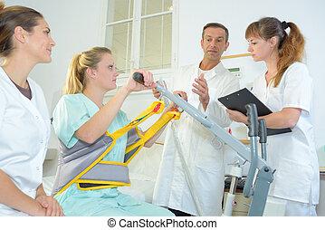 pacjent, medyczny, łóżko, porcja, dźwig, się, personel