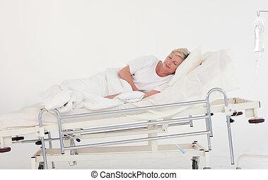 pacjent, odzyskując, w, niejaki, szpitalniana cela