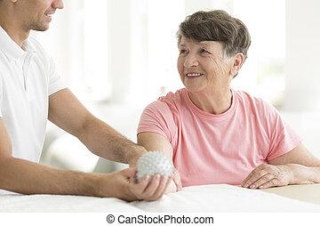 pacjent, piłka, kolczasty, rehabilitacja, dzierżawa