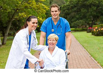 pacjent, powitanie, doktor