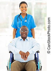 pacjent, pracownik, zdrowie, afrykanin, starsza troska