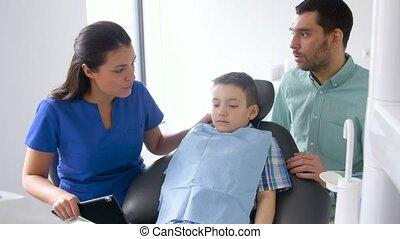 pacjent, stomatologiczny, klinika, dentysta, samica, koźlę