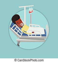 pacjent, tlen, szpitalniane łóżko, mask., leżący
