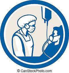 pacjent, zakaźny, retro, pielęgnować, koło, zmierzając