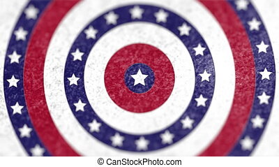 Animation of USA Circles over circles spinning with American flag stars and stripes in red blue and white. Finance patriotism concept digitally generated image.