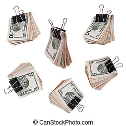 Pack dollars with clip isolated on white background