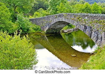 Grange in Borrowdale - Pack-horse bridge over the river...