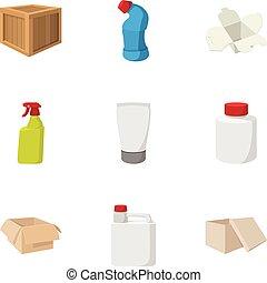Pack icons set, cartoon style